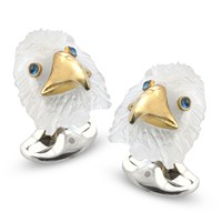 Sterling Silver Bald Eagle Resin Head Cufflinks