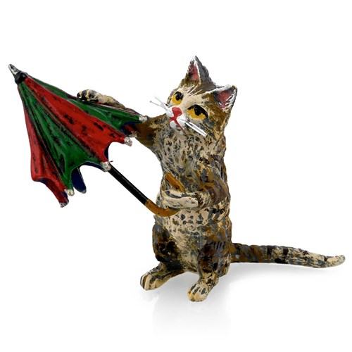 Austrian Bronze Cat with Colorful Umbrella