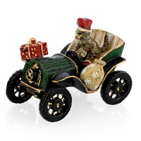 Austrian Bronze Cat in Oldtime Car