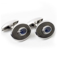 18k White Gold Gray Sunburst Cufflinks