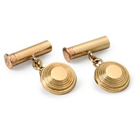 18k Gold Cartridge & Clay Chain Cufflinks