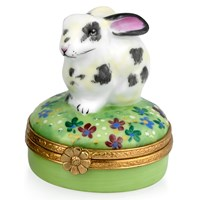 Rabbit Limoges Box, White & Gray