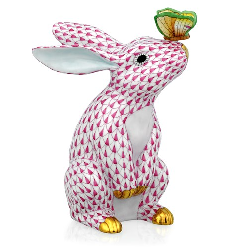 Herend Bunny with Butterfly Figurine