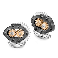 Sterling Silver Gear Box Cufflinks, Rose Gold Plated