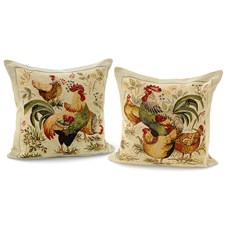 Rooster and Hen Pillows, Large