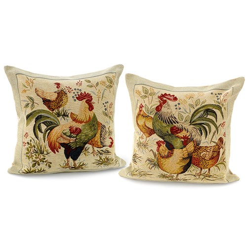 Rooster and Hen Tapestry Pillows, Large
