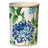 Fabric-Covered Wastebasket with Blue Charlotte Flower