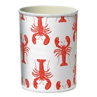 Fabric-Covered Wastebasket with Lobsters