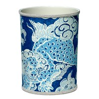 Fabric-Covered Wastebasket with Blue Dragon