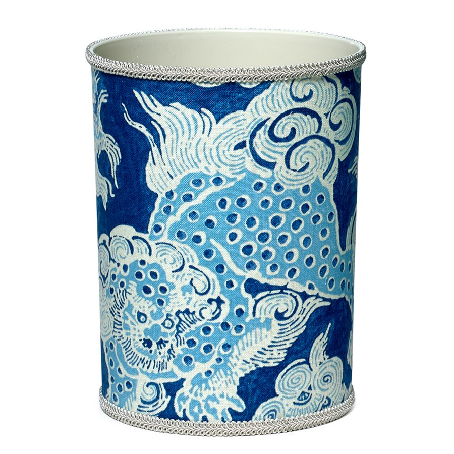 Fabriccovered Wastebasket With Blue Dragon Wastebaskets Office Accessories Home Decor