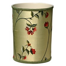 Wildflowers Silk Embroidered Wastebasket
