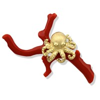 18k Gold Octopus on Coral Pin