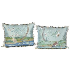 Lotus Lake Birds Silk Pillows