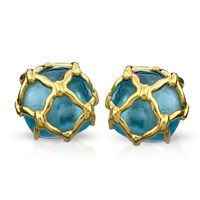 18k Gold Blue Topaz Net Covered Earrings