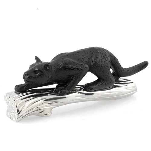 Daum Crystal Black Panther on Silver Branch