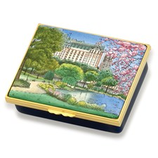 Halcyon Days The Pond In Spring Central Park Enamel Box
