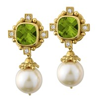 18k Gold Peridot & Pearl Drop Earrings