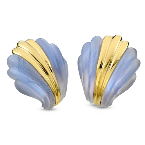 18k Gold & Blue Lace Agate Art Deco Fluted Earrings