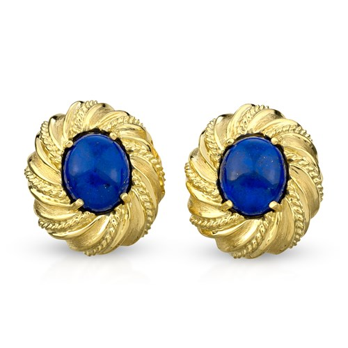 18k Gold Oval Swirl Twist Rope Lapis Lazuli Earrings