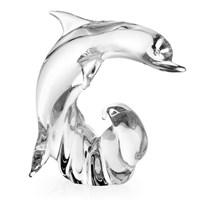 Crystal Dolphin Sculpture, Clear