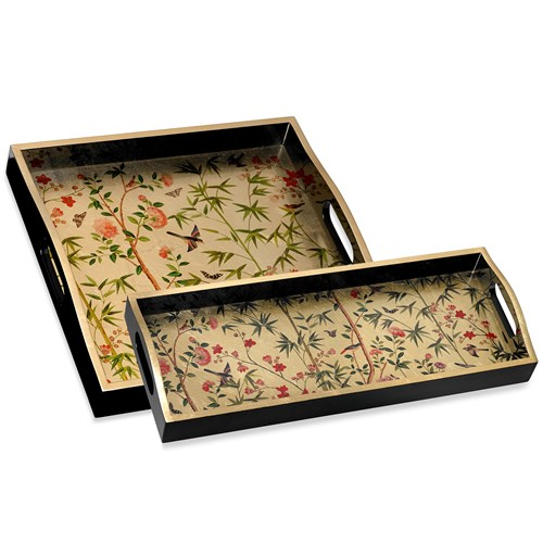 Chinese Wallpaper Lacquer Trays