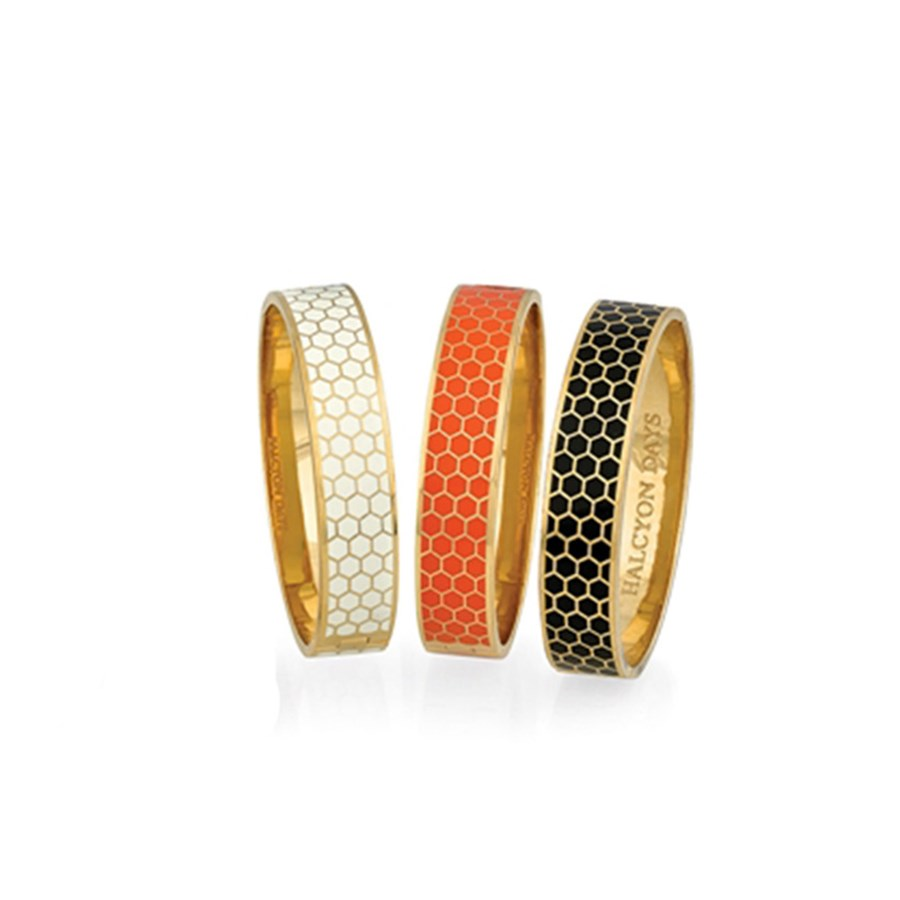 Halcyon Days Honeycomb Hinged Bangles Hover To Zoom