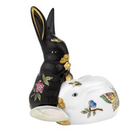 Herend Pair of Rabbits Figurine