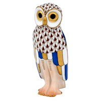 Herend Owl Figurine, Chocolate Multi-Color