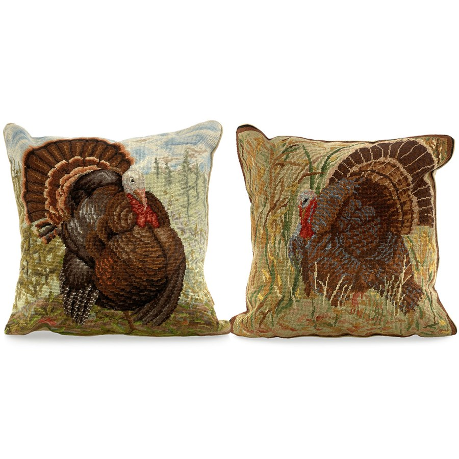 Needlepoint Pillow Decoration Crossword : Needlepoint Turkey Pillows Pillows Home Decor Accessories Home Decor ScullyandScully.com
