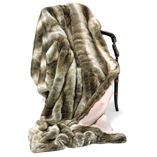 Faux Fur Sand Chinchilla Australian Geelong Wool Throw