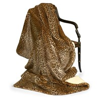 Faux Fur Leopard Cashmere Throw