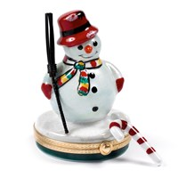 Snowman with Broom & Candy Cane Limoges Box
