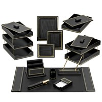 Florentine Leather Desk Set, Black