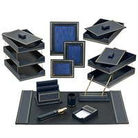 Florentine Leather Desk Set, Navy