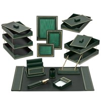 Florentine Leather Desk Set, Green