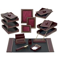Florentine Leather Desk Set, Burgundy