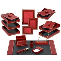 Florentine Leather Desk Set, Red