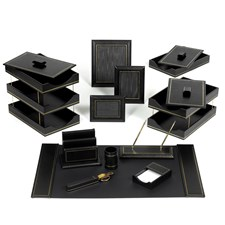 Double Line Leather Desk Set, Black