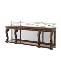Mahogany Flame Breakfront Console Table
