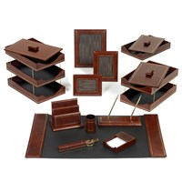 Double Line Leather Desk Set, Brown