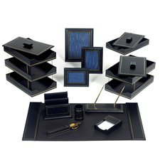 Double Line Leather Desk Set, Navy