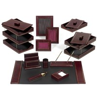 Double Line Leather Desk Set, Burgundy