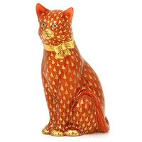 Herend Rust Cat with Gold Bow