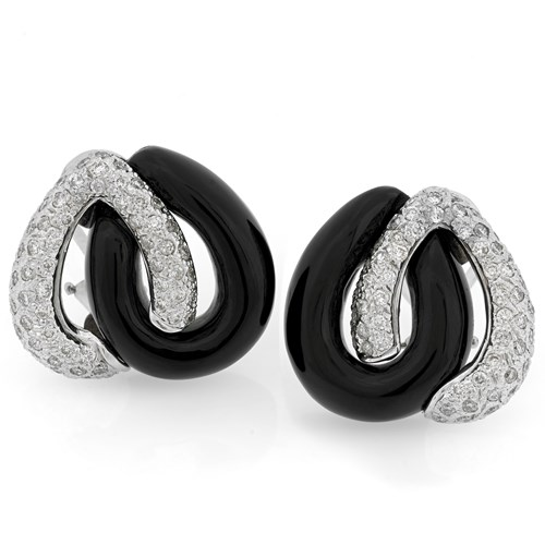18K White Gold Interlocking Onyx & Diamond Earrings