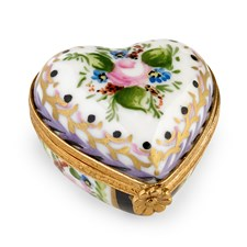 Heart Vérone with Malmaison Decoration Limoges Box