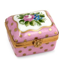 Pink Sèvres with Gold Point and Flowers Limoges Box