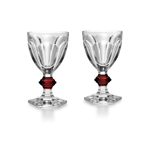 Baccarat Harcourt Goblets with Red Knobs, Set of 2