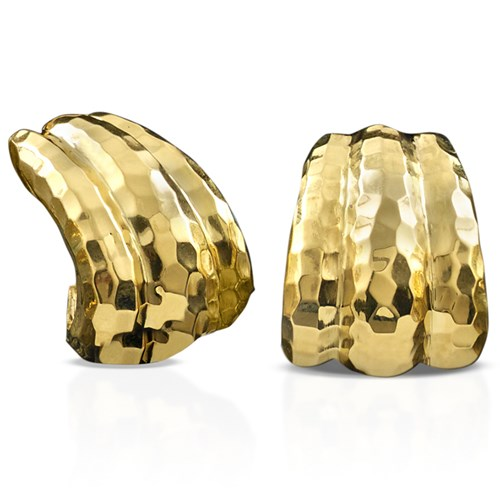 18k Gold Faceted Hammered Earrings