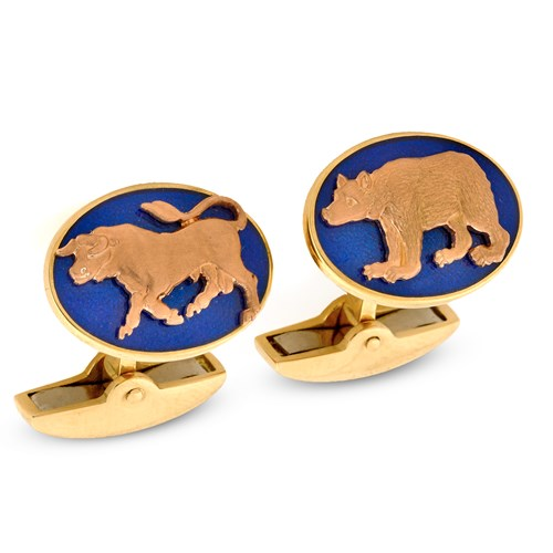 18K Bull & Bear Navy Enamel Cufflinks