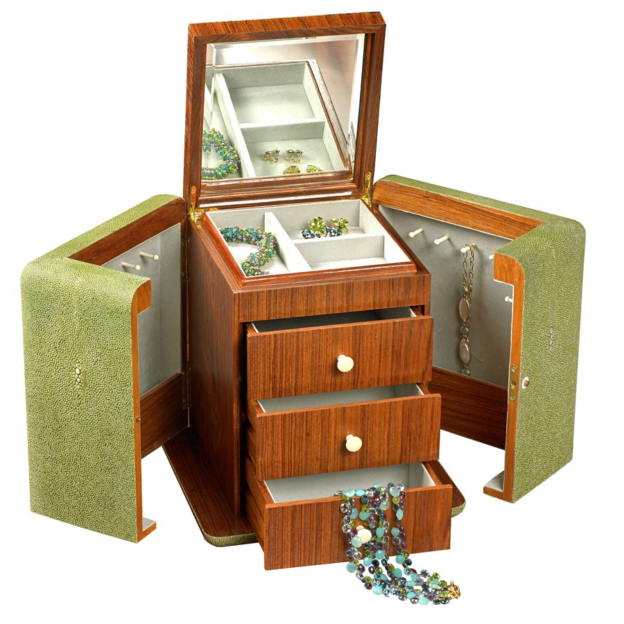 Vanity Jewelry Box Olive Reen Cases Personal Leather